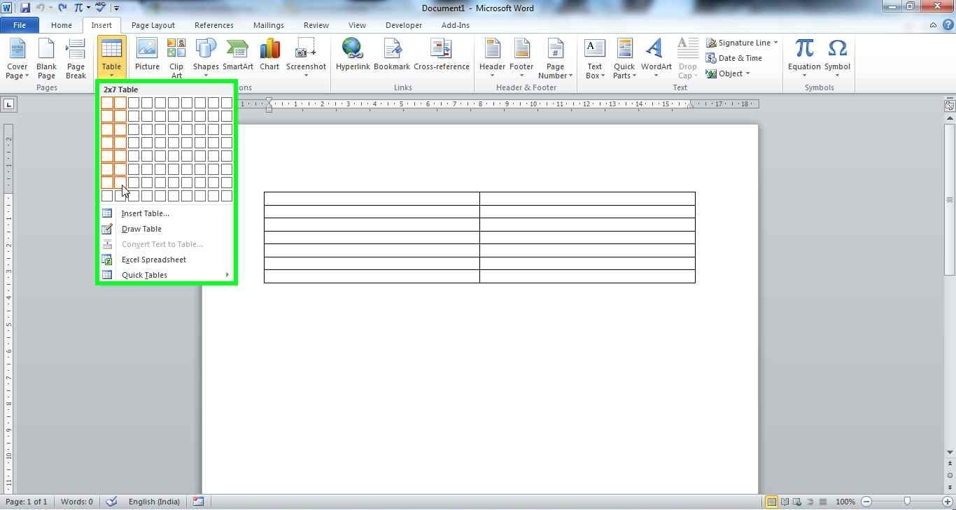 How to insert table of contents create one table of for Table design word