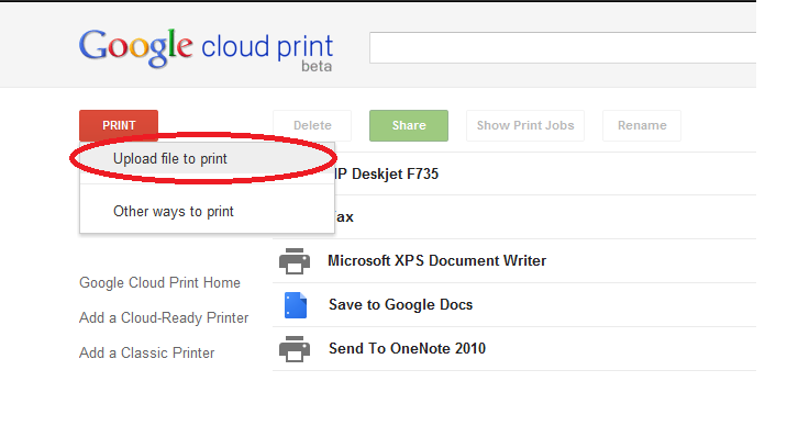 ... upload it. Select a printer of your choice and then click 'Print
